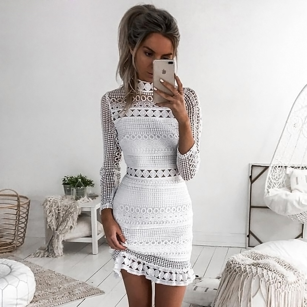 Simplee Elegant hollow out ruffle lace dress Women vintage long ...