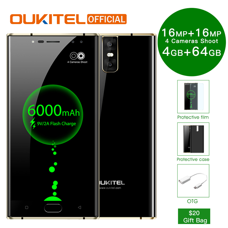 "Oukitel k3 мобильного телефона mt6750t Octa core 4 ГБ + 64 ГБ 5.5 ""двойной 2.5D Экран 6000 мАч 4 камеры 16mp + 2mp спереди отпечатков пальцев Смартфон"