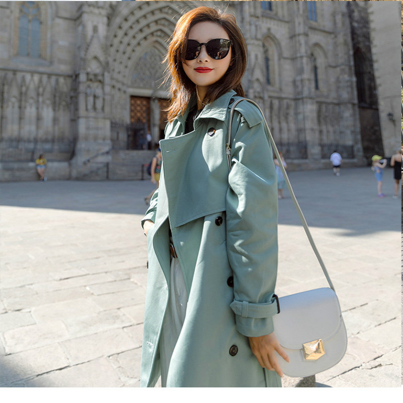 Women's Windswear Mid-Long New Loose Ladies'Leisure Autumn Coat