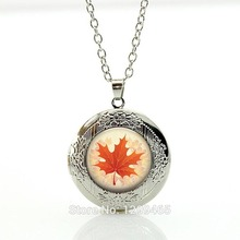 Collares Collier Canadian Maple Leaf Pendant Necklace,wholesale Picture Necklace Art Locket Simple Design Charms Jewelry N237(China)