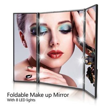 Tri-sided składany 8 z podświetleniem led lustro do makijażu kosmetyczne Vanity Tabletop lustro dla kobiet uroda przybory do makijażu #250105 tanie i dobre opinie ABS + Glass Approx 15 5cm x 23 5cm(L*W) Wyposażone 250105 Makeup Mirror with Light Cosmetic Vanity Tabletop Mirror Square Shape for Girl