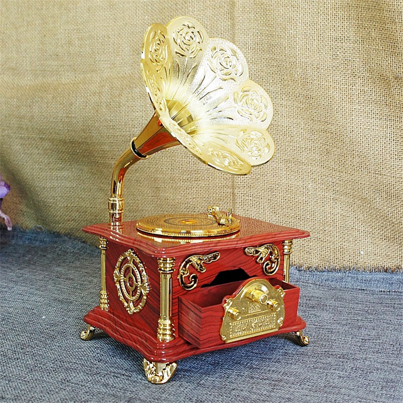 Retro gramophone music box record player model clockwork for Retro house music