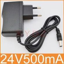 1 pces 24v500ma novo ac 100 v-240 v conversor adaptador dc 24 v 0.5a 500ma fonte de alimentação ue plugue dc 5.5mm x 2.1mm -2.5mm