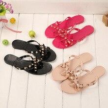 Brand designer Valentine Shoes Rivetsbowknot flat slippers Girls flip flops summer shoes cool beach jelly shoes sandals women
