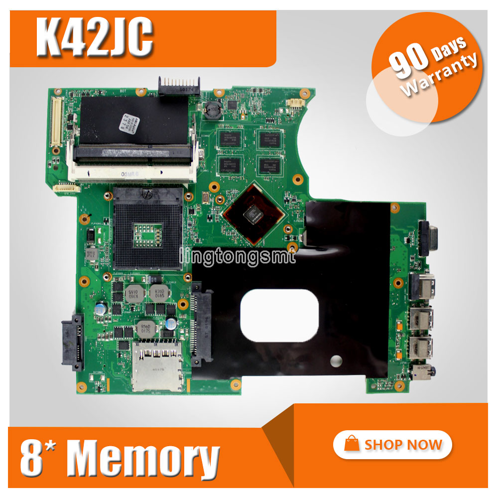 Laptop motherboard For ASUS A42J K42J K42JC with 8 pieces video memory REV2.0 GT310M with 1GB mainboard tested perfect brand new pbl80 la 7441p rev 2 0 mainboard for asus k93sv x93sv x93s laptop motherboard with nvidia gt540m n12p gs a1 video card