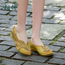 Ethnic style handmade leather women's flat shoes unique pointed toe women's shoes shallow mouth national trend