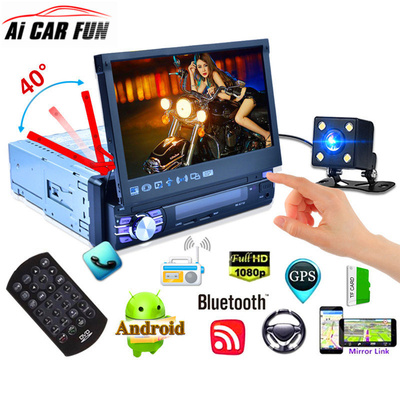 7 Inch <font><b>1Din</b></font> Automatic Retractable Screen <font><b>Car</b></font> MP5 <font><b>Multimedia</b></font> <font><b>Player</b></font> Quad-core Android 6.0 GPS Navigation WiFi AM FM RDS Radio image
