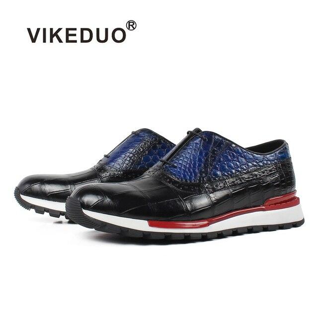 Vikeduo 2019 קיץ חדש ספורט נעלי גברים אמיתי פרה עור שרוכים זכר נעל שחור מזדמן אוקספורד זאפאטו Masculino לנשימה