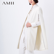 Amii Casual Women Woolen Coat 2017 Winter Mandrain Collar Single Breasted Cloak Female Wool Blends