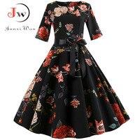 Винтажное платье с цветочным принтом, женское элегантное вечернее платье с длинным рукавом, осенне-зимнее женское повседневное ТРАПЕЦИЕВИ...