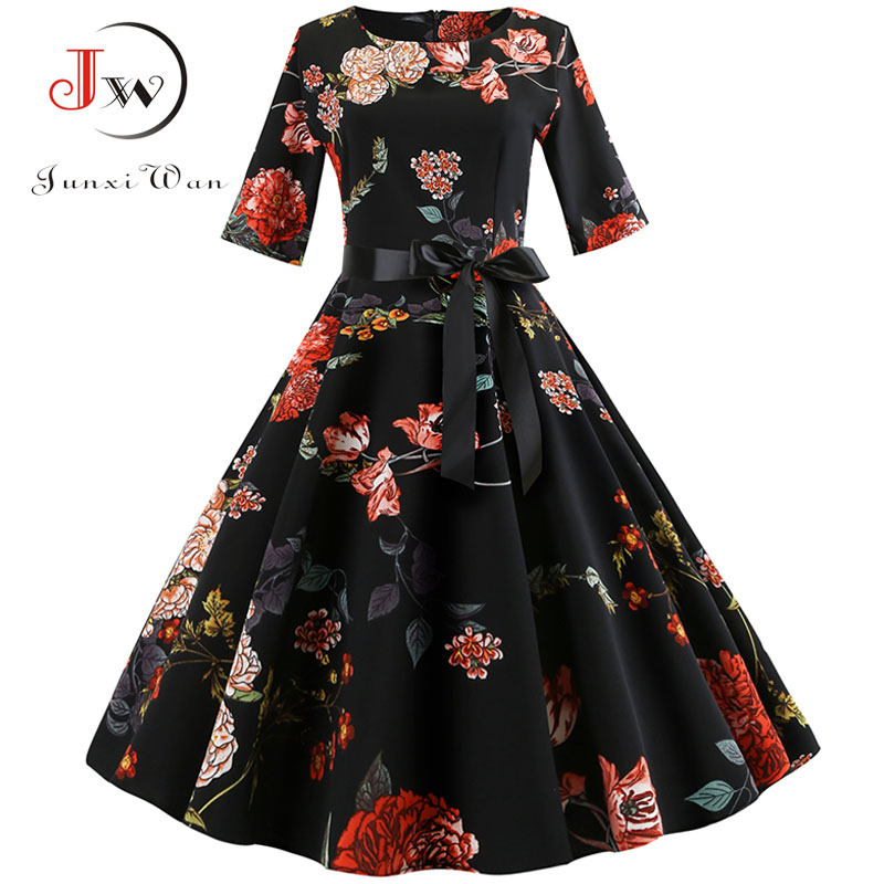 Floral Print Vintage Dress Women  Long Sleeve Elegant Party Dress Autumn Winter Female Casual A-Line Dress Tunic Plus Size