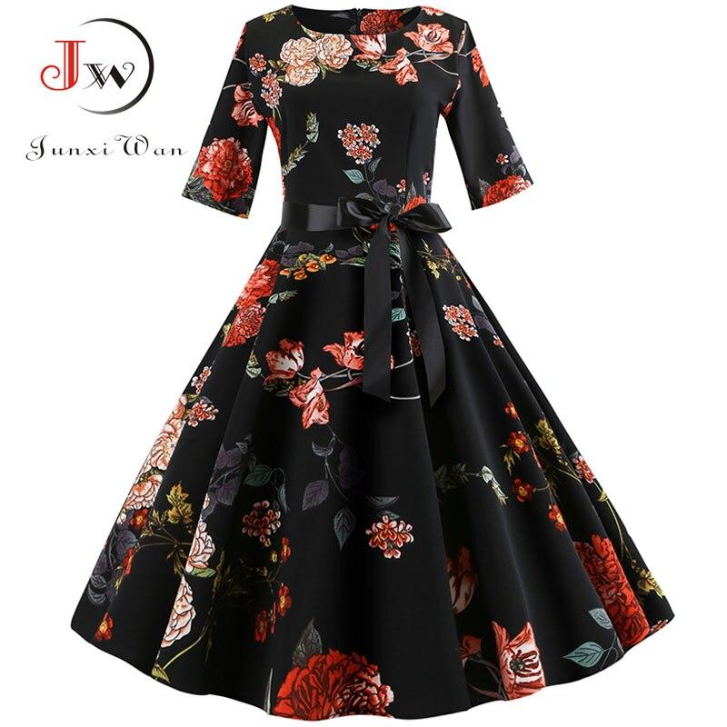 Impresión Floral vestido Vintage vestido de las mujeres de manga larga elegante vestido de fiesta de otoño invierno mujer Casual vestido de túnica Plus tamaño