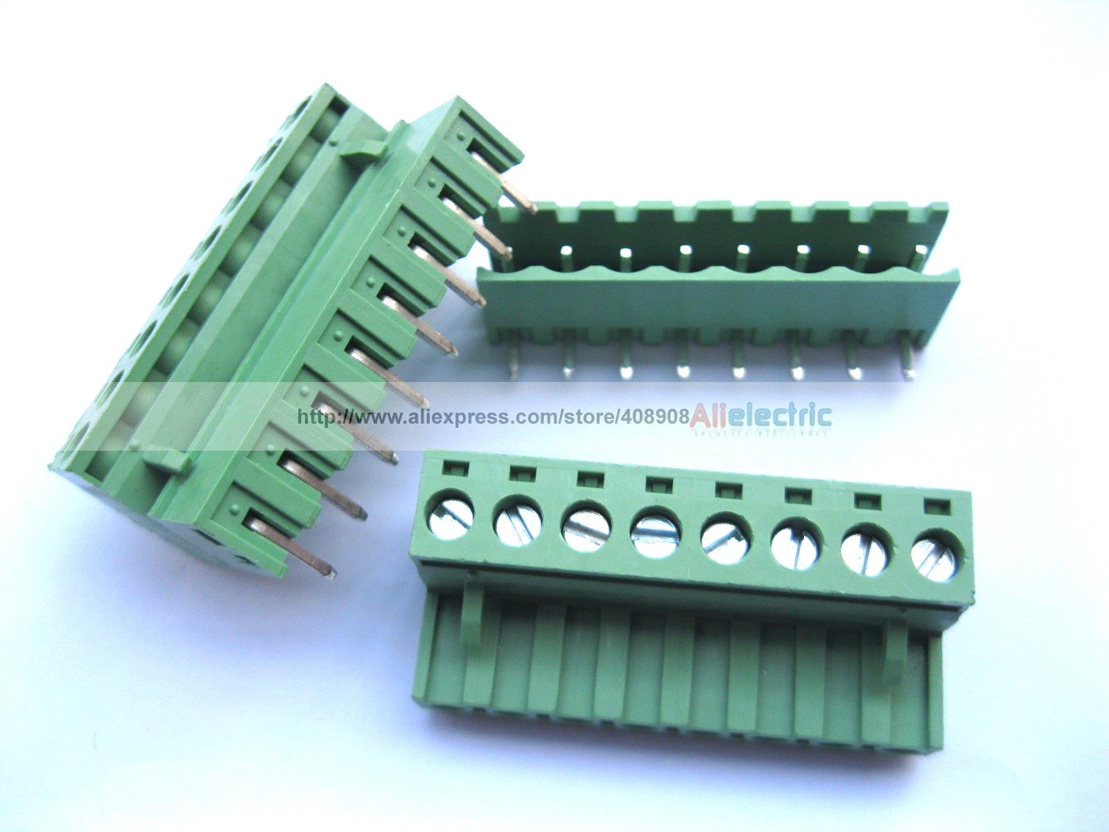 цена на 50 Pcs 5.08mm Angle 8 Pin Screw Terminal Block Connector Pluggable Type Green