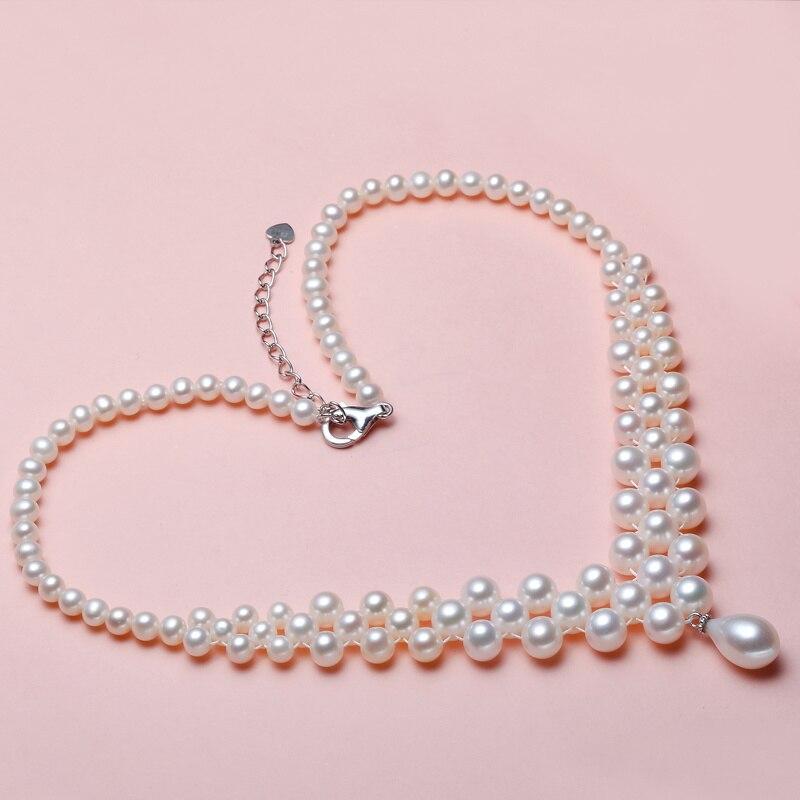 2019 populaire amour en forme de mariage naturel perle d'eau douce collier chaîne bijoux suspendus petite perle clavicule chaîne fille cadeau