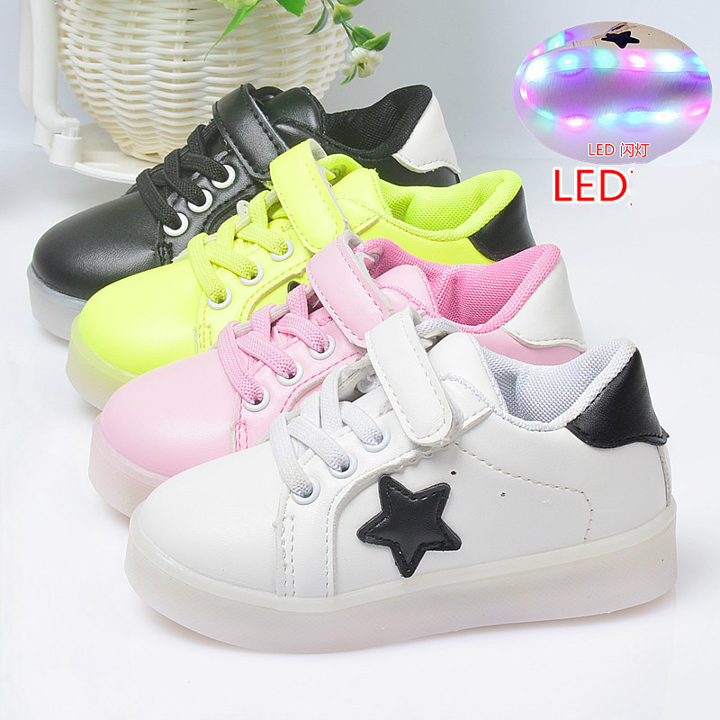 Autumn children s shoes solid point led shoes for kids flat causal