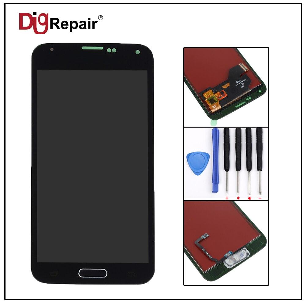 5.0 para Samsung Galaxy S5 G900F G900M G900A G900T Prueba Panel de la Pantalla LCD Pantalla Táctil Digitalizador Asamblea Home Button Pleno Parte