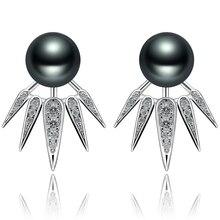 FEIGE Nuevo Diseño 8-9mm Negro Perla de Agua Dulce Del Perno Prisionero 100% Pendiente de Plata de Ley 925 para Las Mujeres de Moda del estilo de Joyería Fina