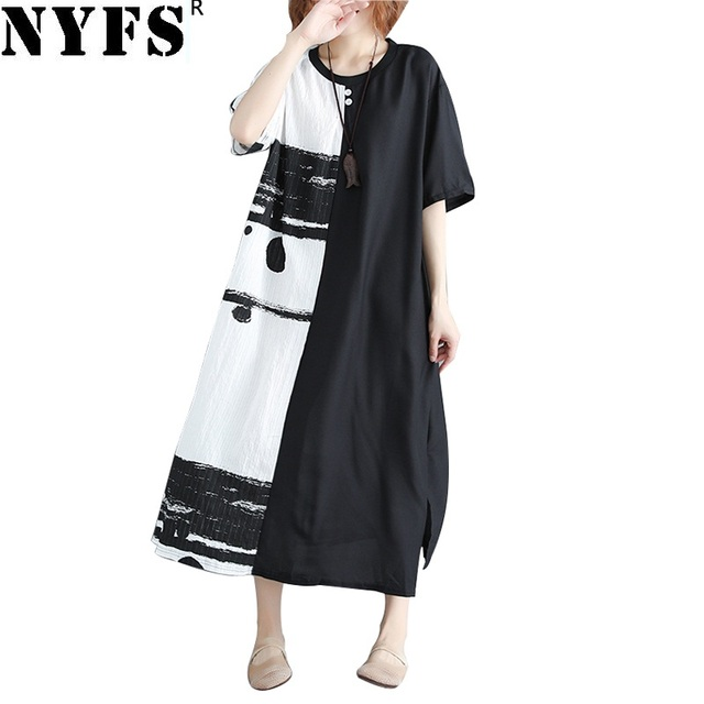 Nyfs 2018 New Summer Dress Chinese Style Half White And Half Black