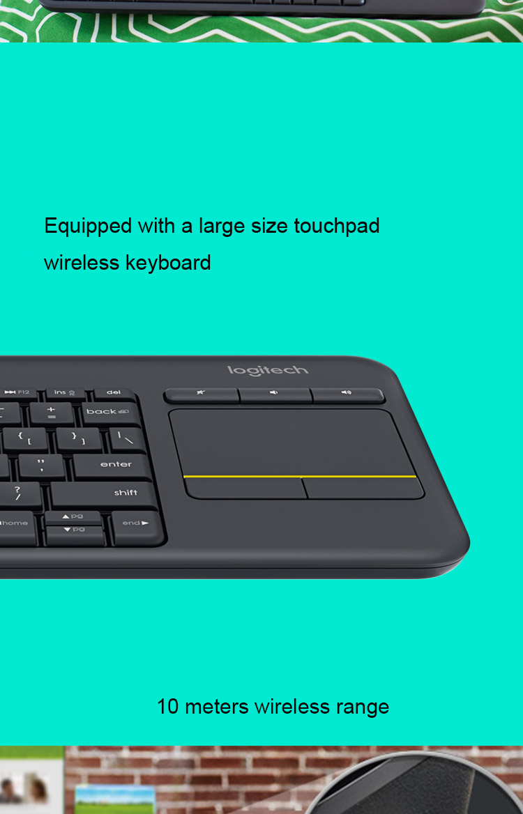 Original Logitech K400 Plus Wireless Keyboard Gaming With Touch White Key 1 Touchpad Keybord Klavye Teclado For Tv Connected Computer 2 3 4