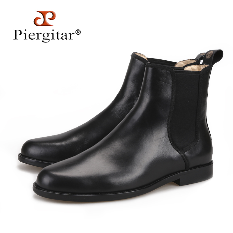 Piergitar 2018 classic styling Handmade Black Italian leather Men Chelsea Boots pair with anything from denim