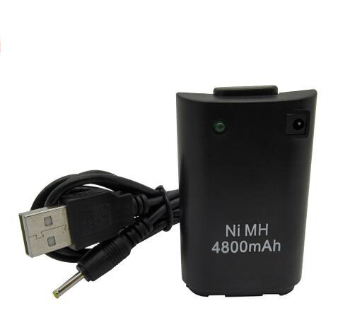 Black/White 4800mAh Rechargeable Pack Battery with USB to DC Charging Cable for Xbox 360 Wireless Controller