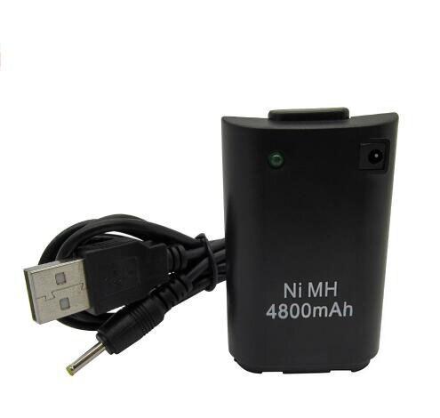 Negro/Blanco 4800 mAh recargable batería con USB a DC cable de carga para Xbox 360 Wireless Controller