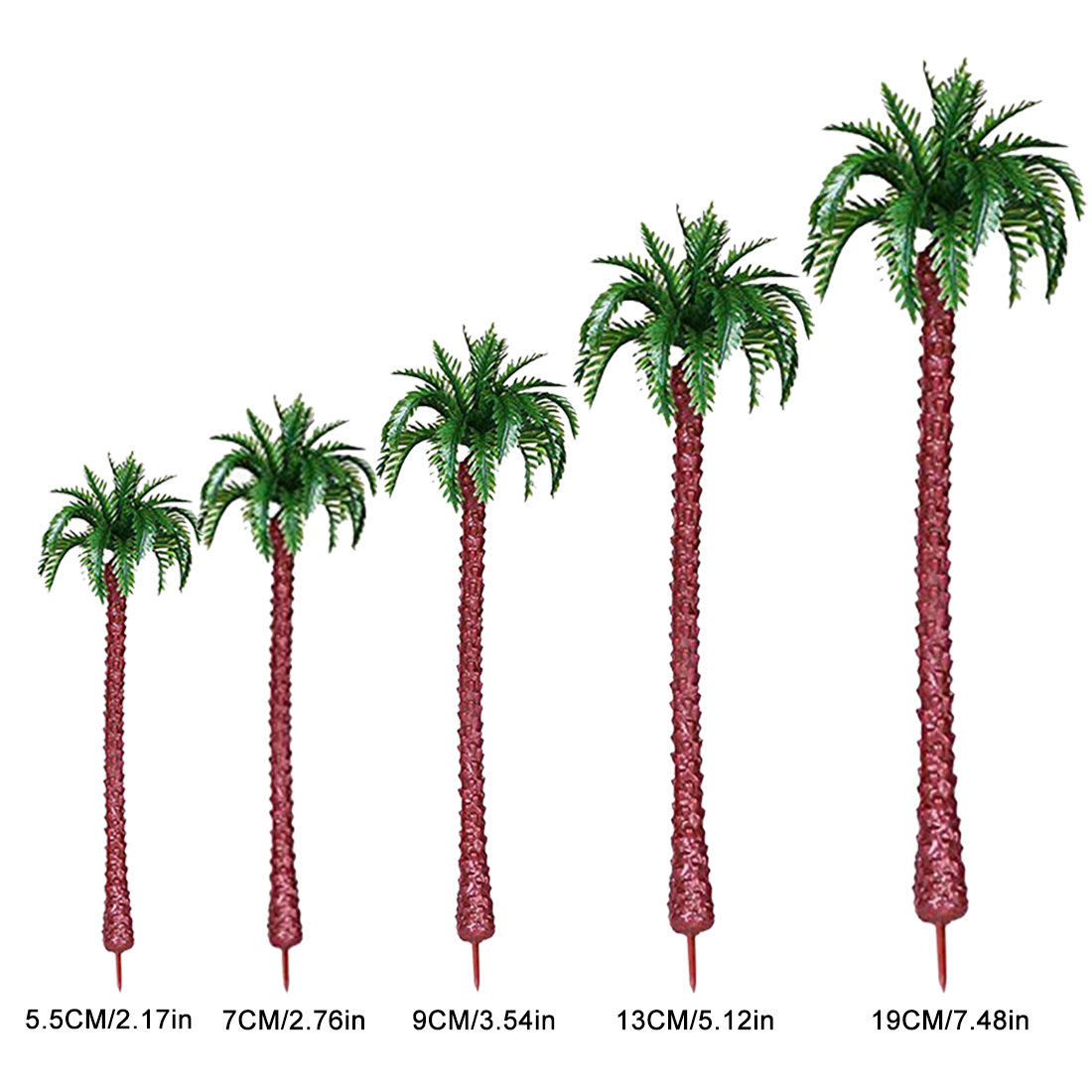5.5/7/9/13/19cm Plastic Coconut Palm Tree Train Railroad Architecture Diorama Tree Model Building Kit