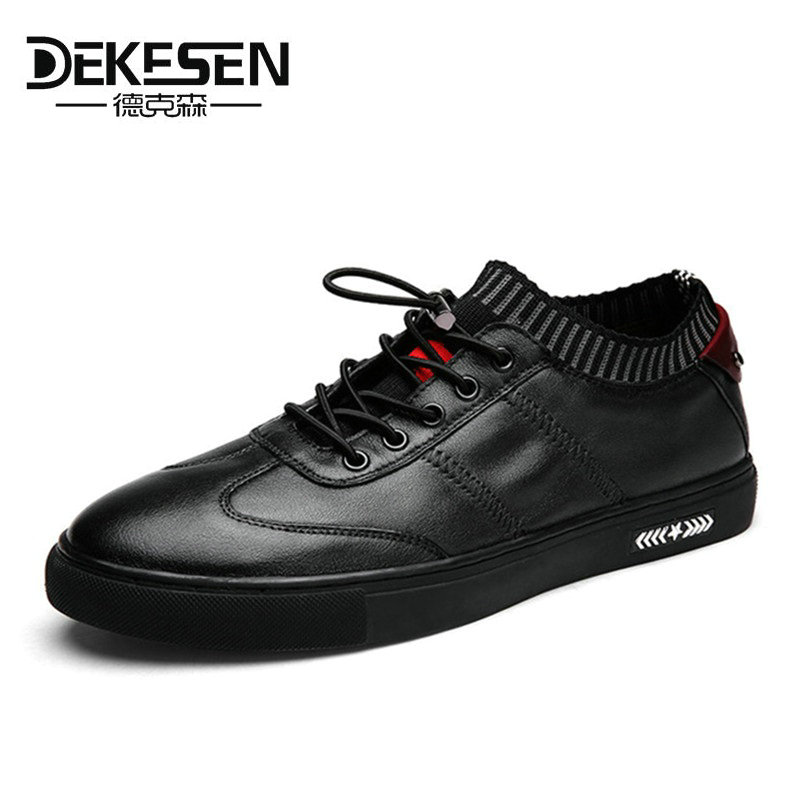 DEKESEN Mens 100% Genuine Leather Handmade Sneakers Shoes,2017 New Fashion Boat Casual Shoe,Brand Design Flats Loafers For Men new fashion summer spring men driving shoe loafers real leather boat shoes breathable male casual flats loafers men casual shoes