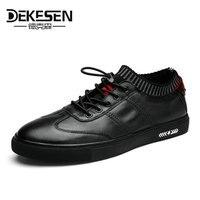 Dekesenメンズ100%本革手作りスニーカーの靴、2017新しいファッションボートカジュアル靴、ブランドデザインフラットローファー男