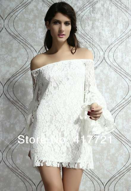 Cheap Off Shoulder Mini Sexy White Long Sleeve Beautiful Party Girl Dress  Full Lace Print Backless 62628cc13e36
