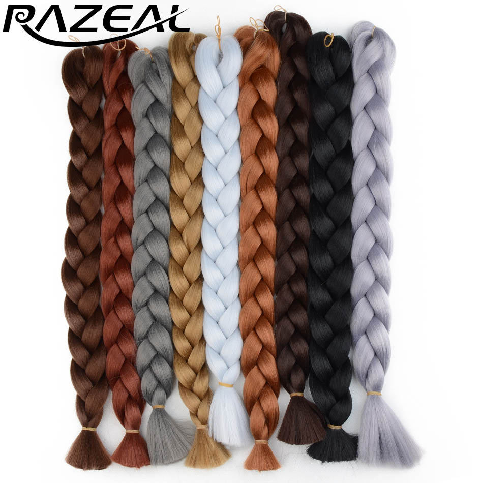 Razeal 24 Inch 100g Ombre Jumbo Braids 5 Pcs Synthetic Brading Hair Extensions Crochet Hair High Temperature Fiber Jumbo Braids Hair Extensions & Wigs