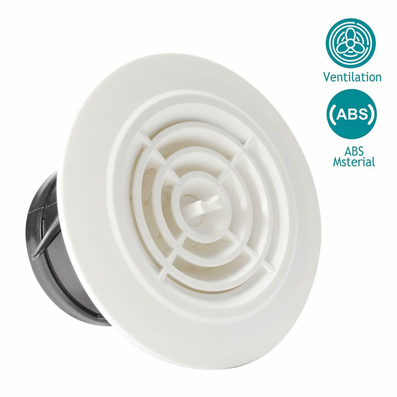 Round Air Vent ABS Louver Grille Cover Adjustable Exhaust Vent For Bathroom Office Ventilation
