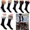 ¡ Venta caliente!! promoción Invierno de Las Mujeres calcetines femeninos de Arranque Largo fit Faux Fur lana Rodilla calcetines b22