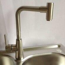 Горячая и холодная вода кухня смеситель для мойки кран никель матовый