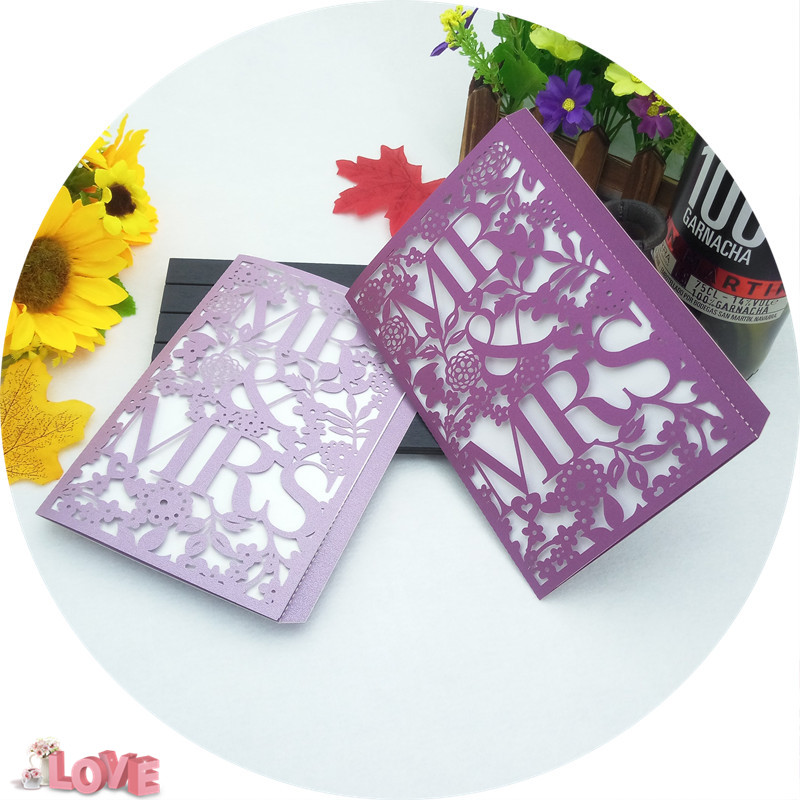 10Pcs Delicate Carved MR MRS Cover Romantic Wedding Party Invitation Card Envelope Dinner Invitation Cards 5ZH11 in Cards Invitations from Home Garden
