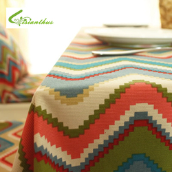 Europe Style Coloful Geometric Printed Tablecloth Cotton Tea Table Cloth Household Decorative Table Cloth Dustproof Cloth