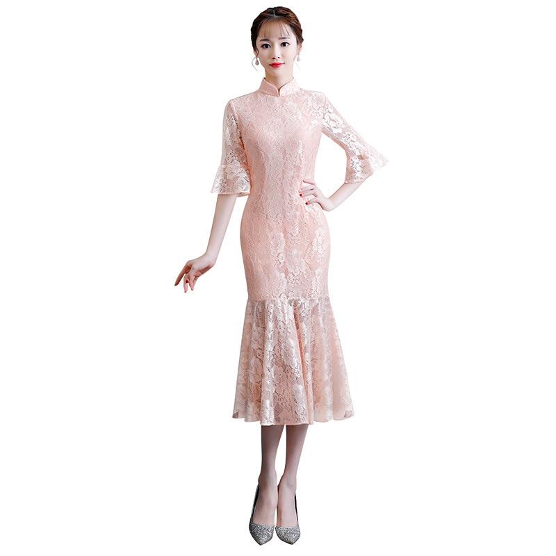 red De Pink Xxl Nouvelle Kleid Moderne Arrivée Robes Chinois Style Chinesisches Orientales Longue Cheongsam Robe Qipao blue Femme wXgF6XRaq