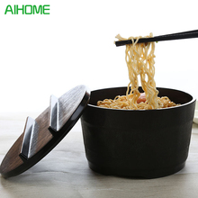 Melamine Ceramic Simulating With Cover Instant Noodle Salad Heat Insulation Soup Ramen Bowl Tableware