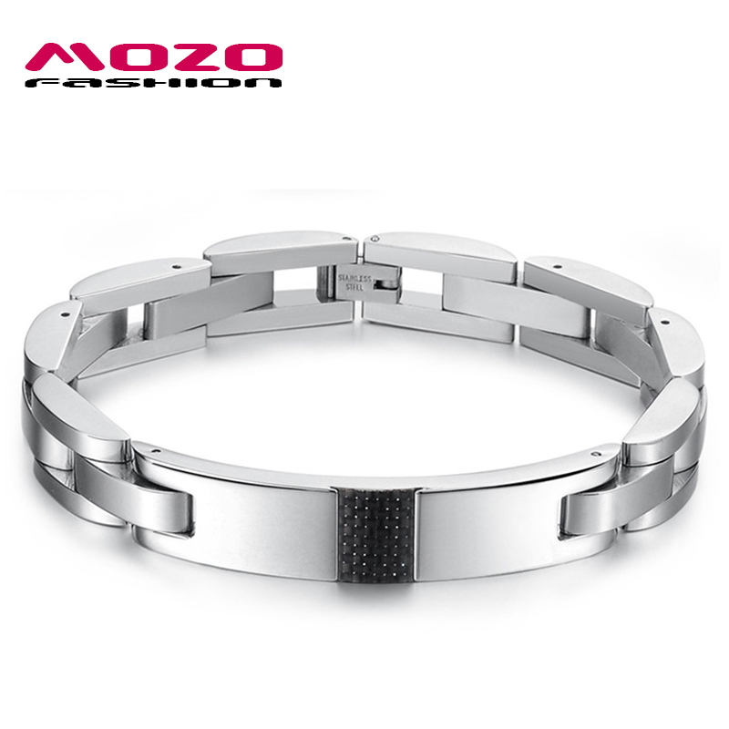 MOZO FASHION Brand Men Trendy Jewelry Carbon Fiber Stainless Steel Chain Bracelets Cool Man Bracelet Party Accessories MGS3135