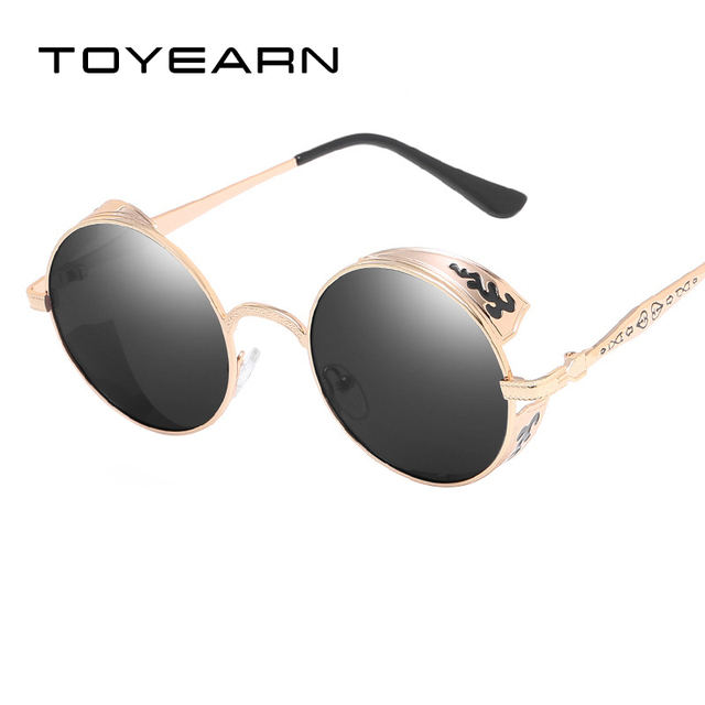 6b233f6b17 TOYEARN Vintage Polarized Round Steampunk Sunglasses Women Men Retro Gothic  Carving Frame Sun Glasses For Male Oculos de sol