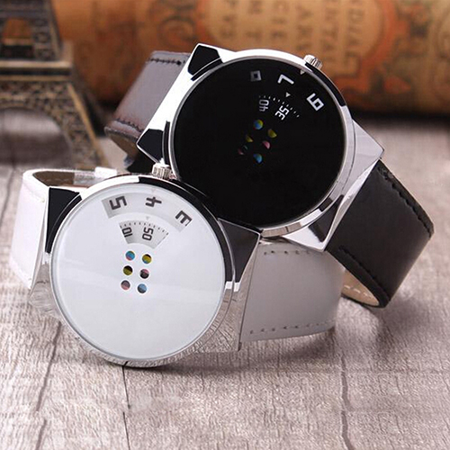 Unisex Faux Leather Strap Colorful Moveable Dial Digital Wrist Watch  6T3F 9421