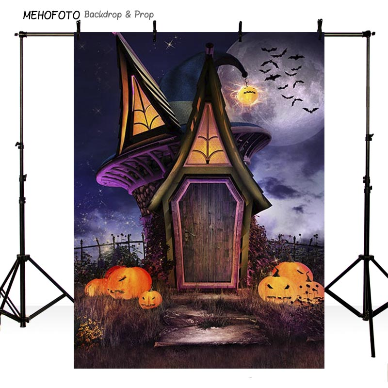Custom Photography Backdrop Props Halloween Day Wooden Floor Moon Pumpkin theme Photo Studio Background HA-272 allenjoy background for photo studio full moon spider black cat pumpkin halloween backdrop newborn original design fantasy props