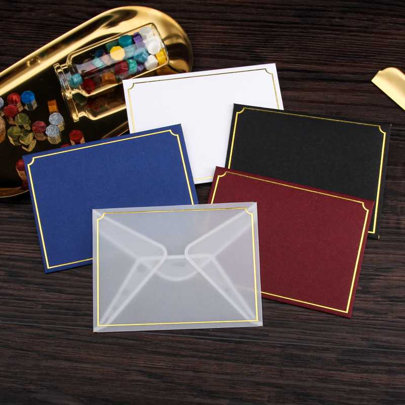 20pcs/set Sulfuric Acid Paper Envelope Thicken European Vintage Hot Stamping Printing Envelope For Wedding Letter Invitation