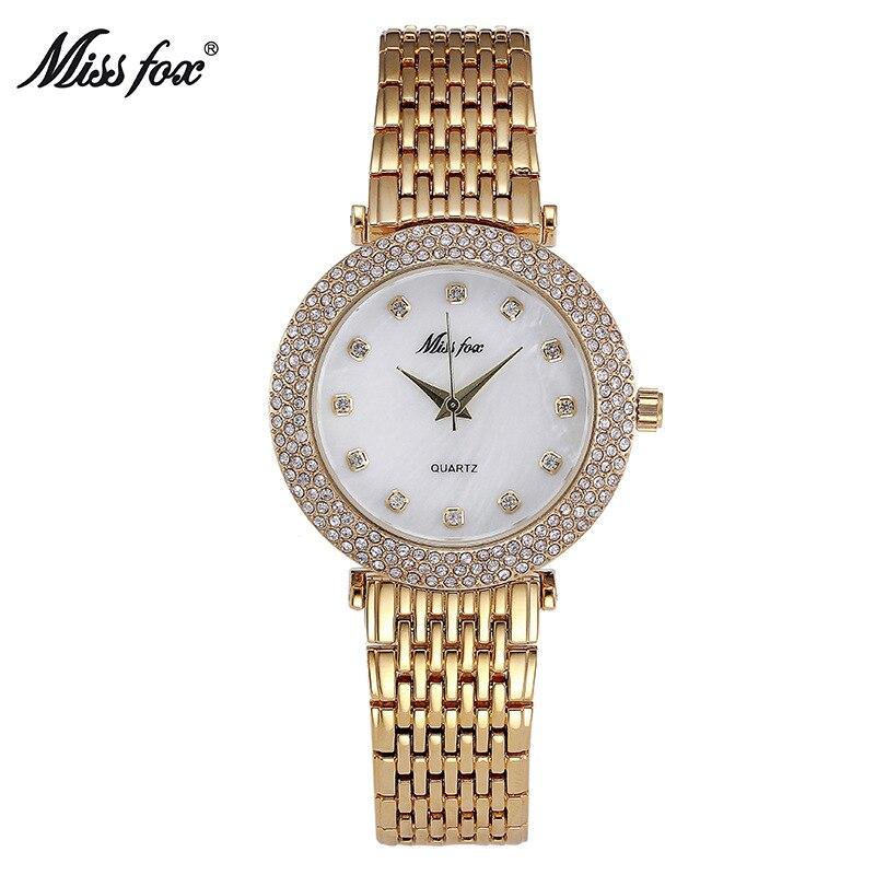 Miss Fox Brand Fashion Rhinestone Women Gold Quartz Watch Luxury   Ladies Dress Bracelet Watches Gifts For Girl Relogio Feminino