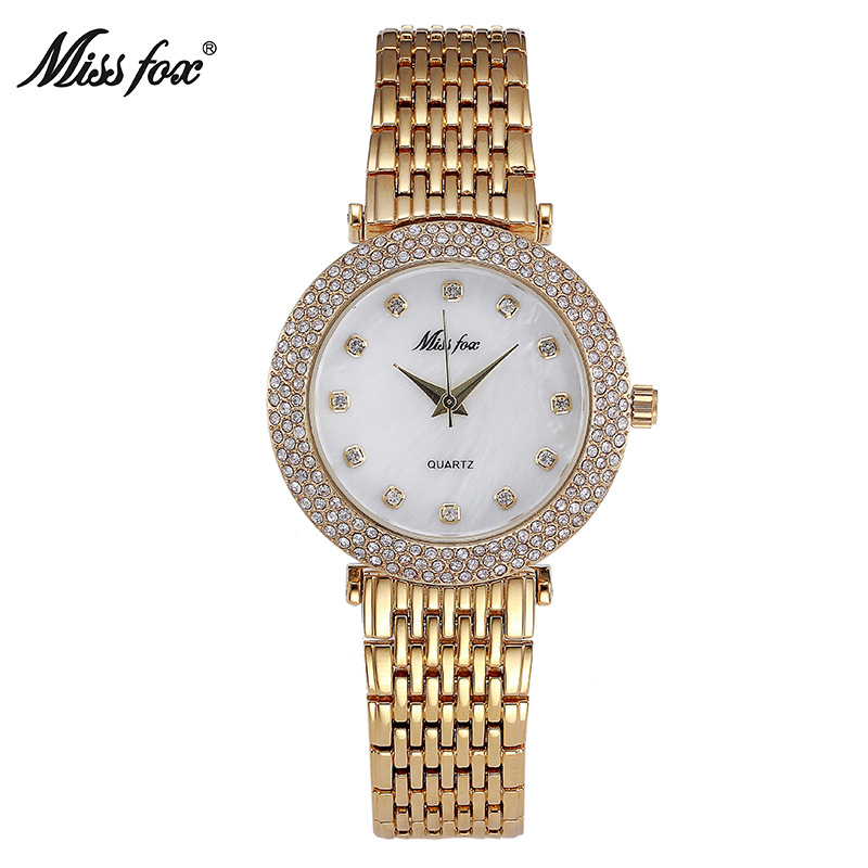 Miss Fox Brand Fashion Rhinestone Women Gold Quartz Watch Luxury Ladies Dress Bracelet Watches Gifts For Girl Relogio Feminino lvpai quartz watch women fashion rhinestone bracelet watches dress clock gold silver relogio feminino