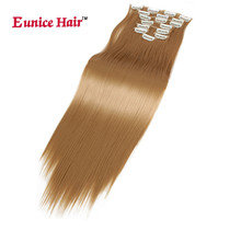 Eunice hair Clip in Hair Extensions 180G blond brown #613 8PCS FULL HEAD 17 Clips in Natural Hairpieces Synthetic Fiber