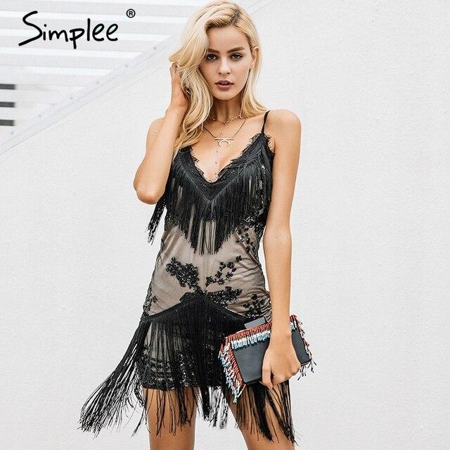 Simplee Холтер блестками черный кружевное платье Для женщин Сексуальная V шеи мини-платье бахромой облегающее платье для новогодней вечеринки Vestidos