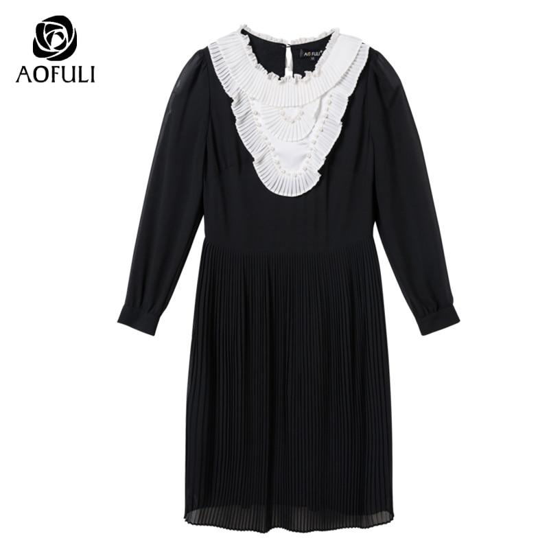 AOFULI s xxxl 4xl 5xl grande taille femmes vêtements marque printemps robe plissée noir blanc Vintage à manches longues robe noire 9029-in Robes from Mode Femme et Accessoires    3