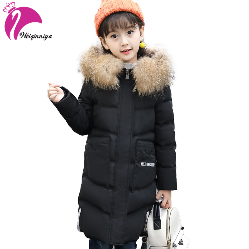 Children Parkas Down Coat New Branded Fashion Fur Hooded Jacket Outwears Teenagers Long Warm Winter Padded Clothing For -30 winter jacket female parkas hooded fur collar long down cotton jacket thicken warm cotton padded women coat plus size 3xl k450