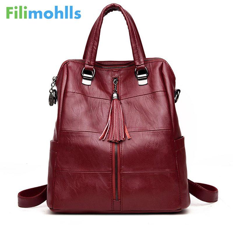 Women Multifunction Backpack Leather Tassel Shoulder Bag Large Capacity Backbag Female Zipper School Bag Girl Travel Bag S1494